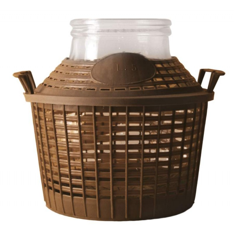 Demijohn with basket 20 l wide opening